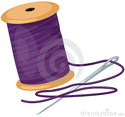 Carrete con las cuerdas de rosca y la aguja