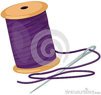 Carretel com linhas e agulha