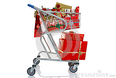 Carretilla de las compras de la Navidad