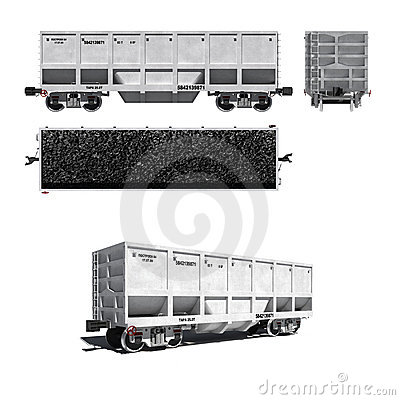 Carriage for coal transportation isolated on white