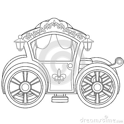 Carriage Coloring Book Page Stock
