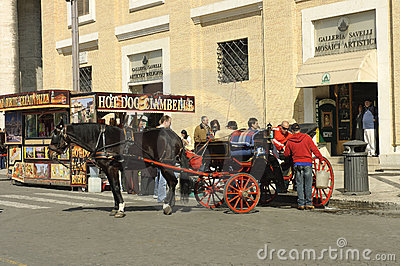Carriage driver lifestyle in Rome Editorial Stock Photo