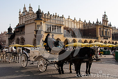 Carriage and horses in Krakow Editorial Photo