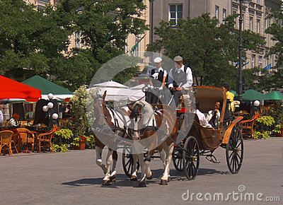 Carriage in Krakow Editorial Stock Photo