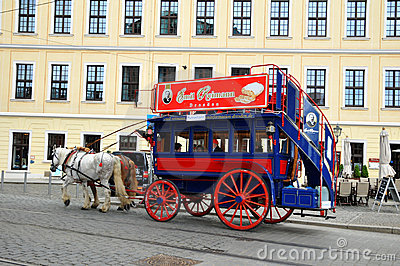 Carriage and pair journey in Dresden Editorial Photo