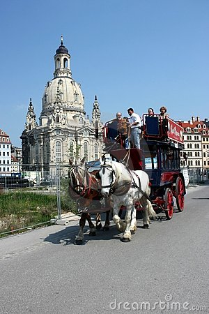Carriage and pair journey in front of Frauenkirche Editorial Photo