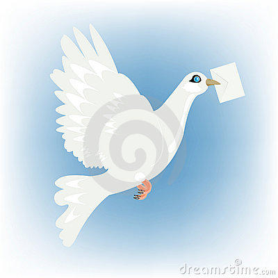 Carrier pigeon with letter in beak