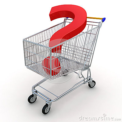 Carro de compras con la pregunta