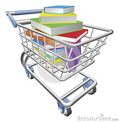 Carro de la carretilla de las compras por completo del concepto de los libros