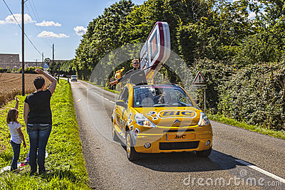 Carro do Bic durante o Tour de France do Le Foto de Stock Editorial
