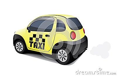 Carro pequeno do táxi no fundo branco