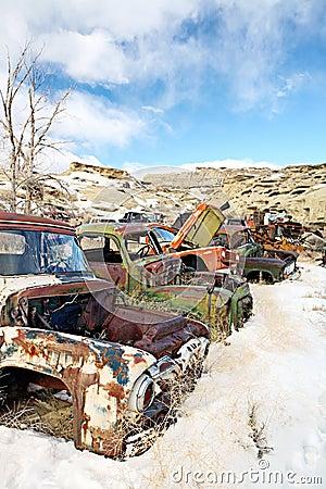 Carros abandonados no junkyard