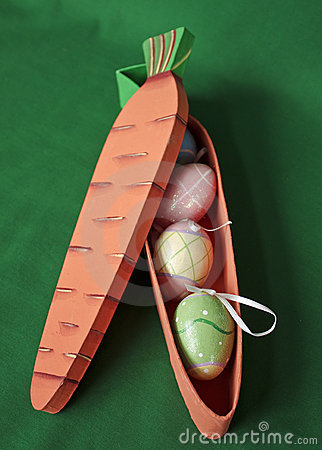 Carrot box with Easter eggs inside
