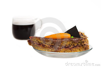Carrot cake with cofee