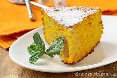 Carrot cake with powdered sugar