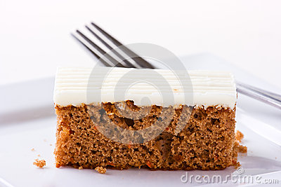 Carrot Cake on white plate. Sallow depth of field