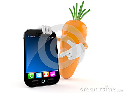 Carrot character with smart phone Stock Photo