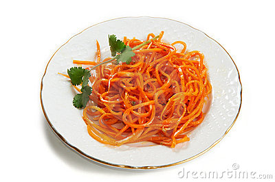 Carrot salad on the Korean isolated