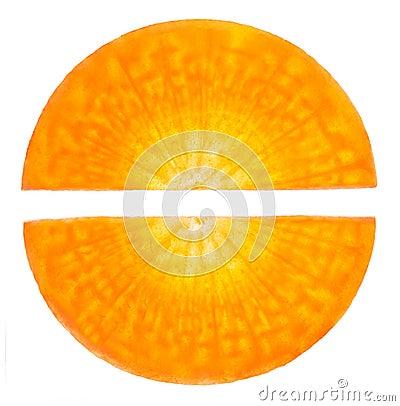 Carrot sliced similar to the pill