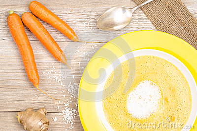 Carrot soup with carrots and ginger