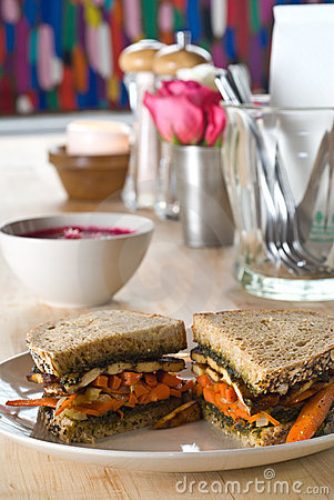 Carrot and tofu sandwich