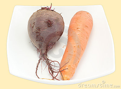 Carrots and beet on a plate