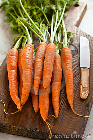 Carrots on a chopping board