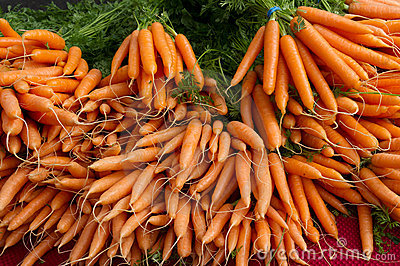 Carrots on display at the farmer s market