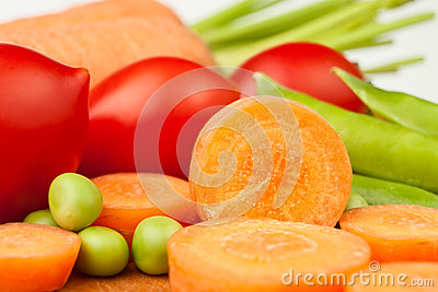 Carrots peas tomatoes