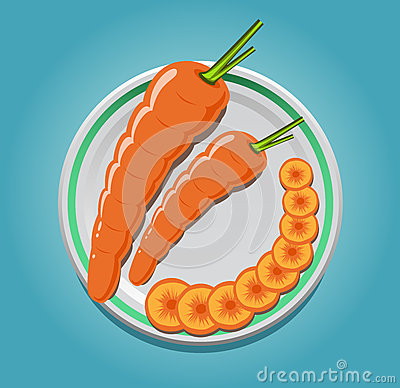 Carrots on a plate with slices