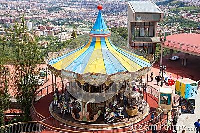 Carrousel at Tibidabo Amusement Park in Barcelona, Spain Editorial Stock Image