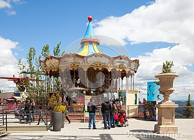 Carrousel at Tibidabo Amusement Park Editorial Stock Image