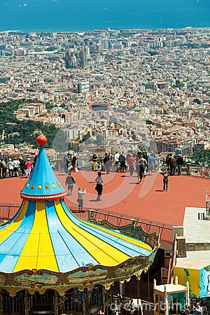 Carrousel at Tibidabo Amusement Park  in Barcelona Editorial Image