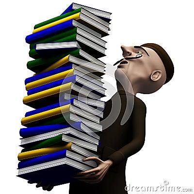 Carryng do professor um o bloco de livros de História