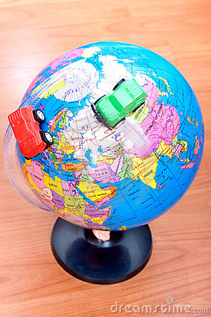Cars around earth globe