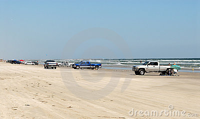 Cars on the beach of Padre Island