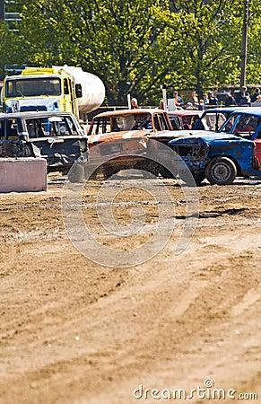Cars at a Demolition Derby