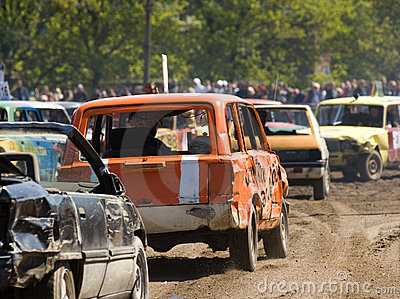 Cars in demolition derby