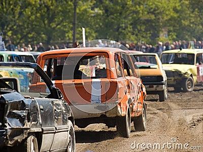 Cars in demolition derby