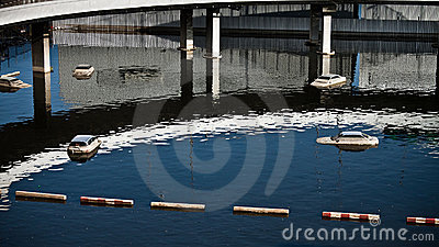 Cars drown in water Editorial Stock Image
