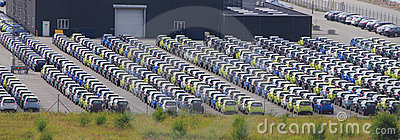 Cars for export parked