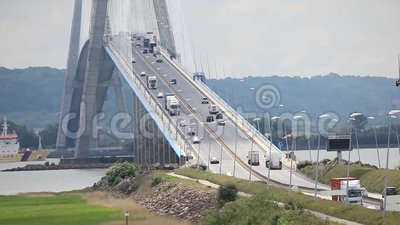 cars go over the normandy bridge near le havre city stock video video of overcast bridge. Black Bedroom Furniture Sets. Home Design Ideas