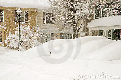 Cars and houses in blizzard