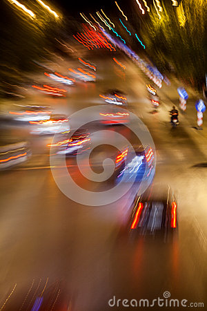 Free Cars In Motion At Night Royalty Free Stock Photos - 35064198
