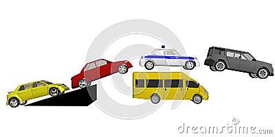 Cars jump