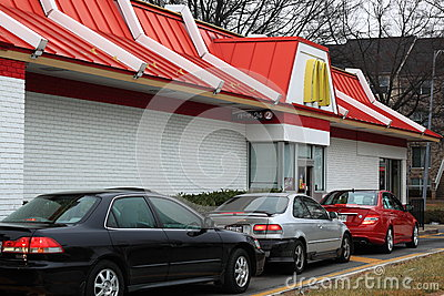 Cars at McDonalds Drive-thru Editorial Stock Photo