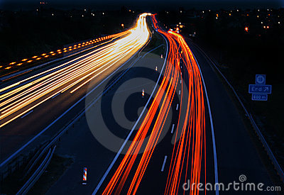 Cars in motion on highway