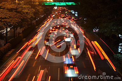 Cars move quickly during rush hour