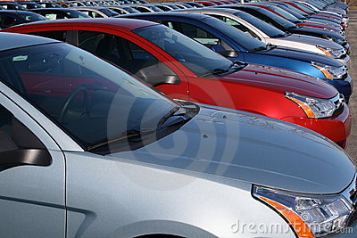 Cars in new car lot