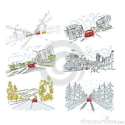 Free Cars On City Road, Set Of Hand Drawn Illustrations Stock Photography - 33140932